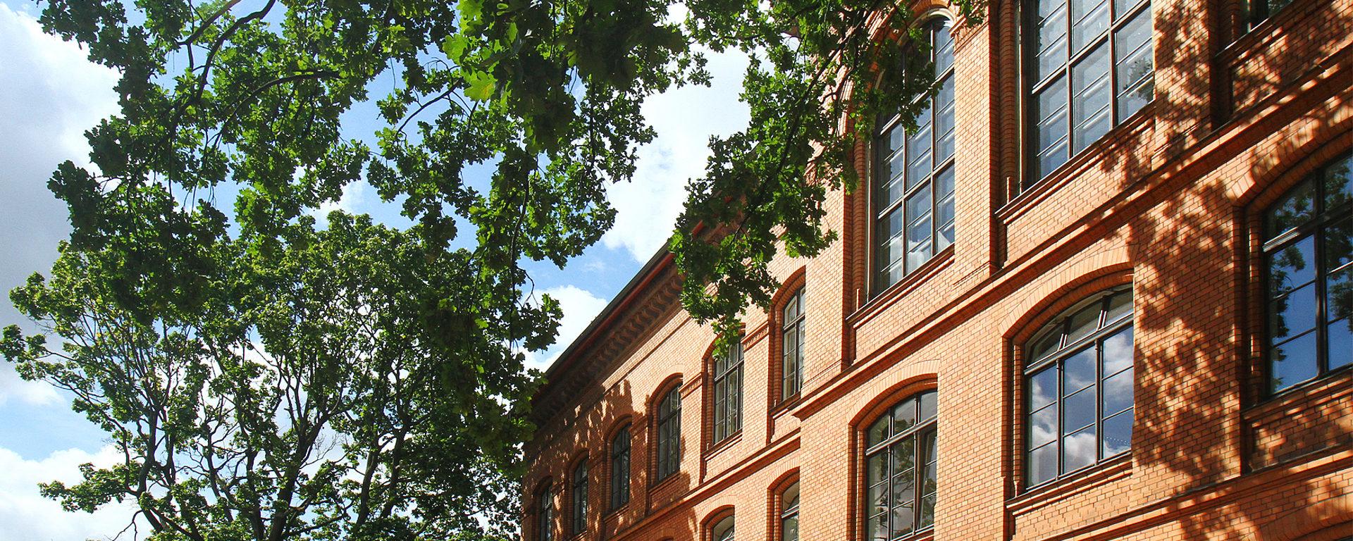 Aussenansicht des orangene Gebäudes der Schule vom Schulhof aus gesehen